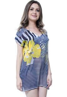 Blusa Estampada 101 Resort Wear Tunica Decote V Fendas Floral Listrado Azul
