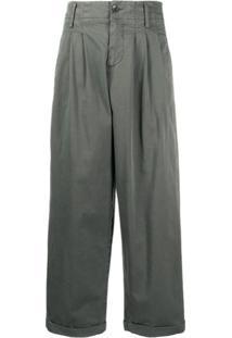 Ymc Calça Pantalona Com Pregas - Cinza