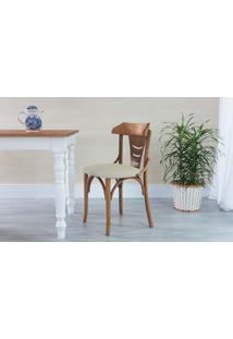 Cadeira De Madeira Moderna Estofada Augustine - Stain Jatobá - Tec.924 Off White - 45X50,5X83 Cm