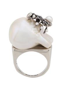 Alexander Mcqueen Spider Pearl Ring - Prateado