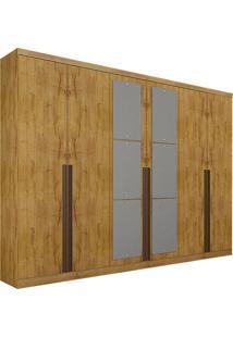 Guarda-Roupa Casal Com Espelho 6 Portas Quebec- Novo Horizonte - Freijo Dourado