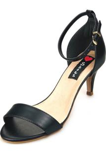 Sandália Salto Baixo Love Shoes Slim Tira Básica Preta