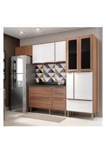 Cozinha Modulada Multimóveis 5453 Calábria 5 Peças Nogueira/Branco
