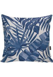 Capa Para Almofada Foliage- Azul & Branca- 45X45Cm