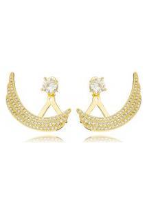 Brinco Ear Jacket Gazin Pedras Cravejadas Banhado A Ouro 18K - Unico - Ouro Dourado