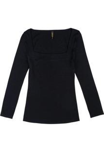 Blusa Com Decote Quadrado Preto