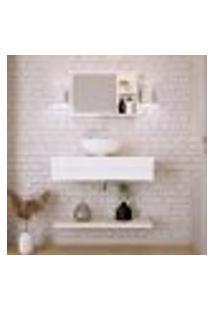 Conjunto Para Banheiro Bancada Com Cuba R35 Redonda, Prateleira E Espelheira City 806 Snow