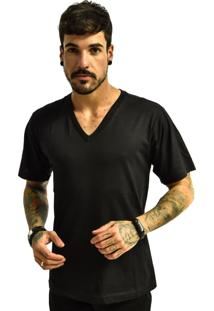 Camiseta Rich Young Gola V Básica Lisa Preto