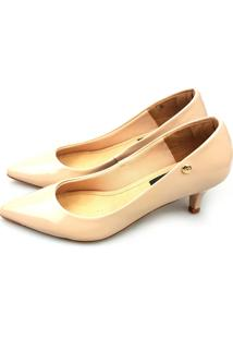 Scarpin Love Shoes Bico Fino Salto Baixo Verniz Bege
