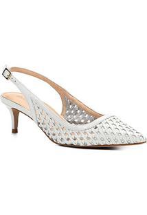 Scarpin Couro Shoestock Salto Médio Tressê - Feminino-Branco