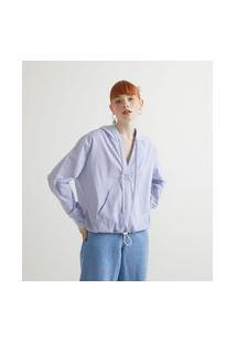 Camisa Em Tricoline Com Capuz Listrada | Blue Steel | Azul | M