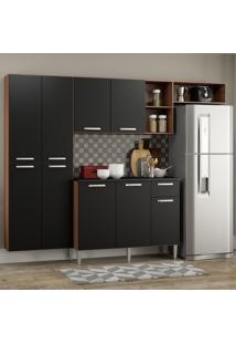 Cozinha Completa Compacta Pequim Sun Multimóveis Com Balcão Madeirado Com Preto