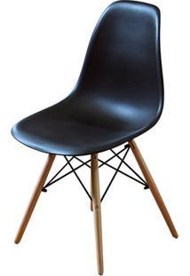 Cadeira Polipropileno Com Pés De Madeira 82X47Cm Preta