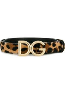 Dolce & Gabbana Cinto Com Fivela De Logo - Marrom