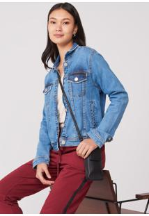Jaqueta Amaro Jeans Bolso Embutido Frente Azul Medio - Azul - Feminino - Dafiti