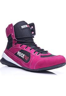 Bota De Treino Rock Fit Work Out Em Couro Pink E Preto