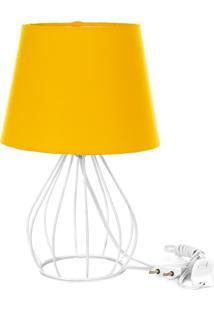 Abajur Cebola Dome Amarelo Com Aramado Branco - Amarelo - Dafiti