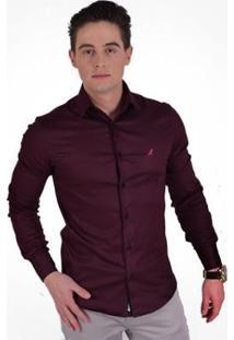 Camisa Social Horus Super Slim - Unissex-Vinho