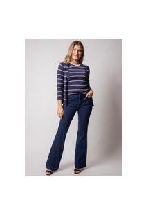 Calça Jeans Flare Pau A Pique Básica Azul Escuro