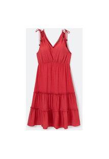 Vestido Midi Em Viscose Maquinetada Com Amarração Nos Ombros Curve & Plus Size Vermelho