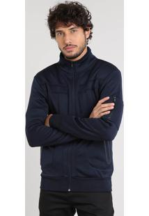 Jaqueta Masculina Com Recortes E Bolsos Azul Marinho