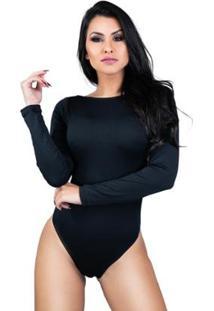 Body Feminino Collant Manga Longa Costa Nua Decote Blusa Mvb Modas - Feminino-Preto