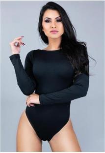 Body Manga Longa Mvb Modas Costa Nua Feminino - Feminino-Preto