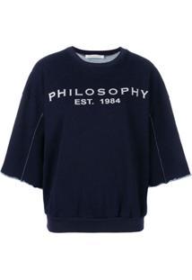 Philosophy Di Lorenzo Serafini Blusa De Moletom Com Estampa De Logo - Azul