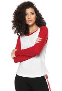 Camiseta Fiveblu Raglan Branca/Vermelha