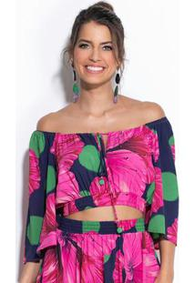 Cropped Floral Diana Rosa