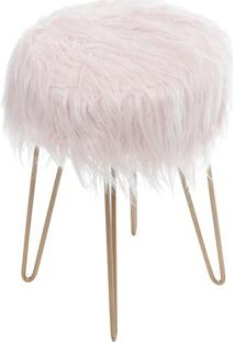 Puff Glamour- Rosa & Dourado- 40Xã˜28Cm- Or Desigor Design