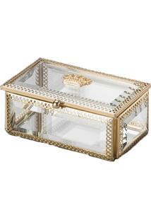 Porta Jóias Crown Vidro E Metal Dourado 12,5 X 7,5 Cm