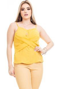 Regata Clara Arruda Frente Cruzada Lisa 60146 Amarelo