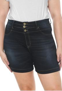 Short Jeans Lunender Mais Mulher Plus Pespontos Azul-Marinho
