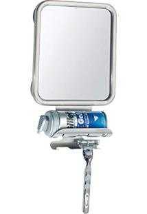Espelho De Banheiro Antiembaçante Com Porta Barbeador E Espuma Em Inox Para Barbear Com Ventosas