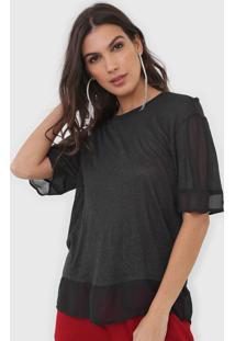 Camiseta Open Style Recortes Preta - Preto - Feminino - Viscose - Dafiti