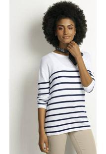 Blusão Feminino Básico Em Tricô Listrado Modelagem Comfort