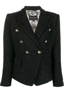 Etro Blazer De Tweed Com Abotoamento Duplo - Preto