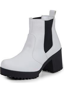 Bota Tratorada Elástico Dhl Calçados Feminina Branca