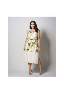 Vestido Almaria Plus Size New Umbi Midi Floral Bege