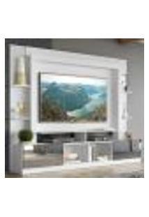 """Rack C/ Painel E Suporte Tv 65"""" Portas C/ Espelho Oslo Multimóveis Branco/Madeirado"""