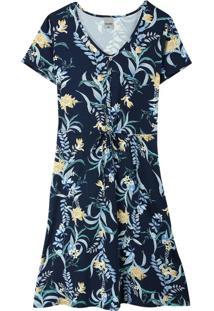 Vestido Marinho Evasê Tropical Plus