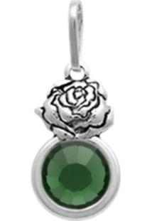 Pingente Prata Mil Prata Envelhecida Rosa Com Pedra Chaton Verde