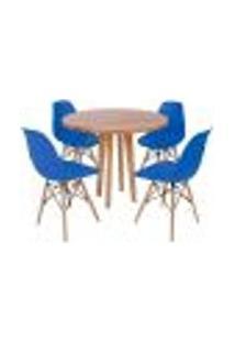 Conjunto Mesa De Jantar Em Madeira 90Cm Com Base Vértice + 4 Cadeiras Eiffel - Azul