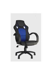 Cadeira Office Racer Preta E Azul Rivatti