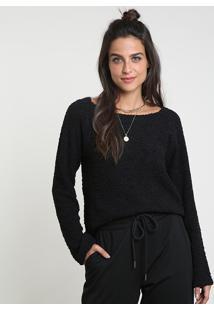 Suéter Feminino Em Tricô Texturizado Decote Redondo Preto