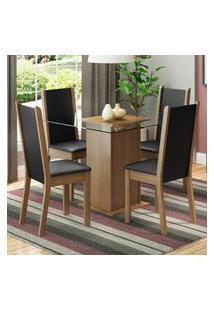Conjunto Sala De Jantar Madesa Giulia Mesa Tampo De Vidro Com 4 Cadeiras - Rustic/Preto Marrom