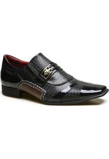 Sapato Social Em Couro Com Textura Chicago Calvest - Masculino-Preto