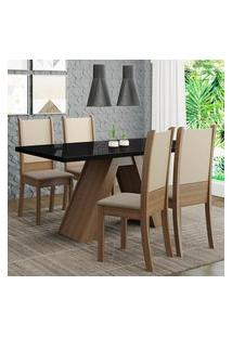 Conjunto Sala De Jantar Madesa Dafne Mesa Tampo De Vidro Com 4 Cadeiras - Rustic/Preto/Crema/Bege Marrom