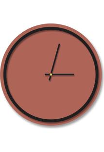 Relógio De Parede Decorativo Premium Minimalista Cobre Metalizado Com Borda Preto Ônix Em Relevo Médio